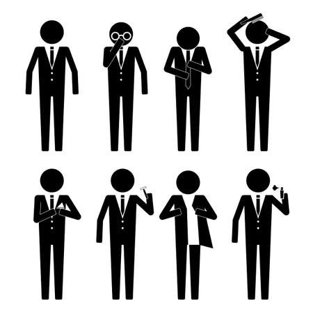get dressed: Business man getting ready iwth various object  action infographic icon vector sign symbol pictogram Illustration