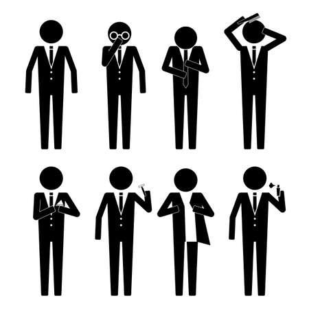 L'homme d'affaires se prépare iwth vaus objet icone vecteur infographique signe symbole pictogramme