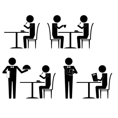 restaurant icons: Diner with various activities and waitress infographic icon vector sign symbol pictogram