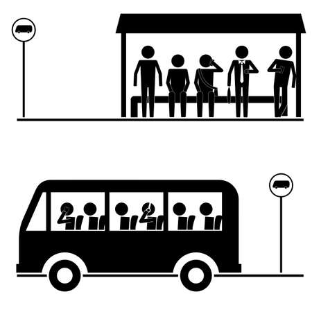 queuing: group of men  crowd waiting for bus icon vector sign symbol pictogram