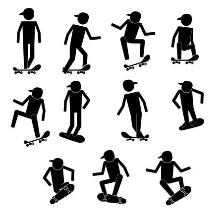 crouch: Men skaters skate with various gestures and moves infographic icon vector sign symbol pictogram Illustration