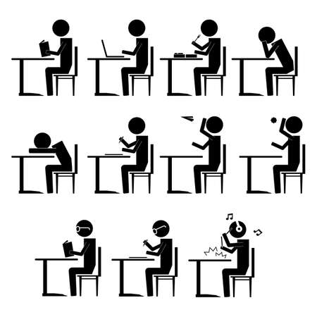 writing chair: various students beaviour inside class infographic icon vector sign symbol pictogram