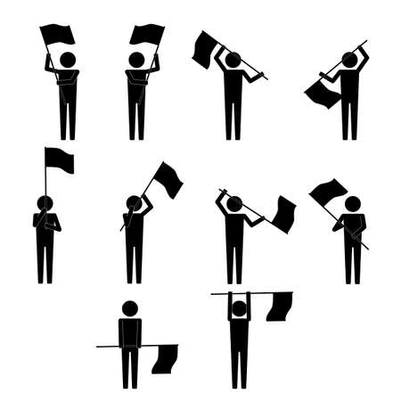 waver: Men with various moves  gesture waving flag info graphic icon vector sign symbol pictogram Illustration