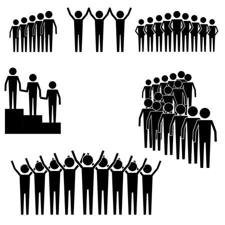lining up: group of people and crowd gathering and lining up to lead info graphic icon vector sign symbol pictogram Illustration