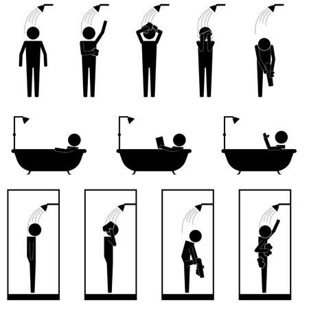 shower bath: men in shower bath tub cubic washing body and hair infographic icon vector sign symbol pictogram Illustration