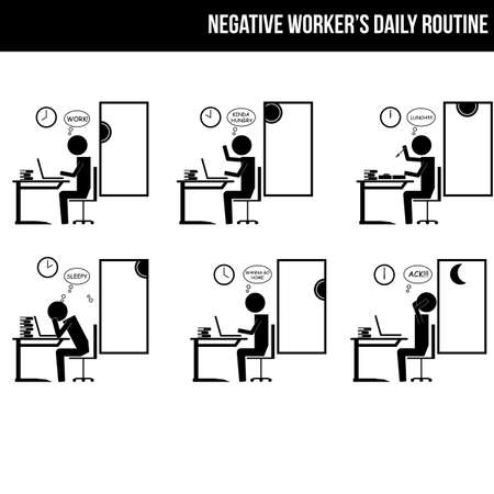 morning noon and night: worker with negative mind and work routine info graphic icon vector sign symbol pictogram