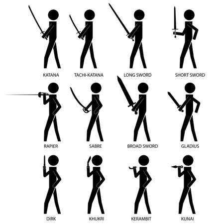dirk: men holding various bladed weapon infographic icon vector sign symbol pictogram