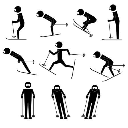 skid: men doing ski moves infographic icon vector sign symbol pictogram Illustration