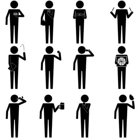 uomini con vari alimenti e spuntino icona info segno grafico vettore simbolo pittogramma