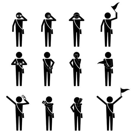 visitor: tourist and visitor on group activity infographic icon vector sign Symbol pictogram