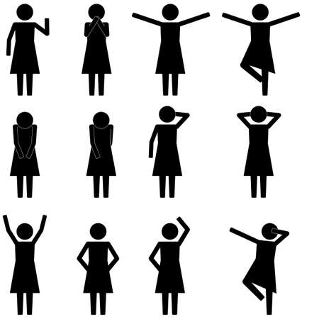female legs: Various basic girl movement icon symbol vector sign pictogram info graphic Illustration