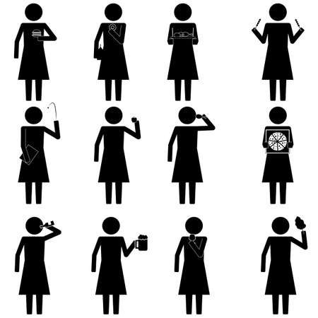 sip: female woman with various food and snack info graphic icon vector sign symbol pictogram