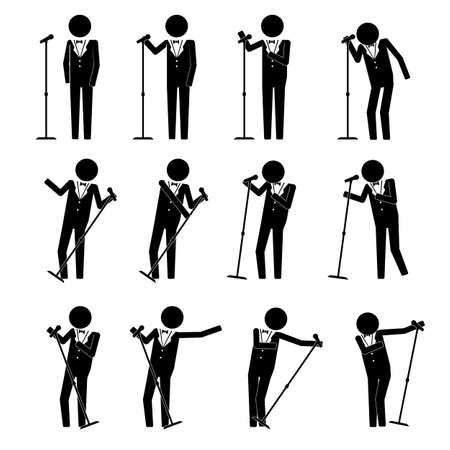 man male in suit doing performance sing  speech with moves info graphic icon vector sign symbol pictogram Stock Illustratie