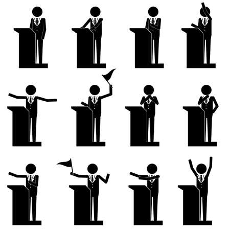 speech icon: men male talk on stage have speech info graphic icon vector sign symbol pictogram