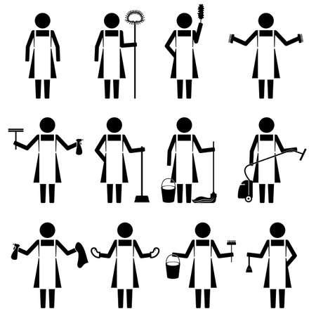 maid Femme majordome faire un travail maison corvée icône infographique signe symbole vecteur pictogramme Vecteurs