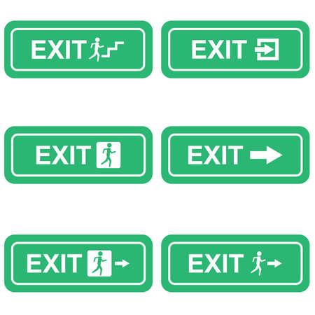 green exit emergency sign: Green emergency exit sign symbol vector Illustration