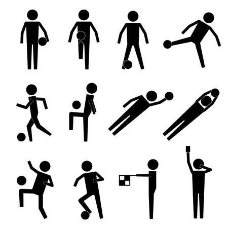 arquero futbol: El fútbol de portero de fútbol Árbitro del juez de línea del icono símbolo pictograma sesión Vectores