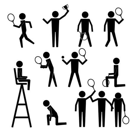 judge players: Tennis Player Serve Stroke Ball Boy Line Judge Umpire Referee Champion Icon Sign Pictogram