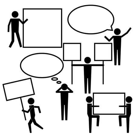 teammate: Men Stick Figure Holding Showing Empty Blank Banner Icon Symbol Sign Pictogram Illustration