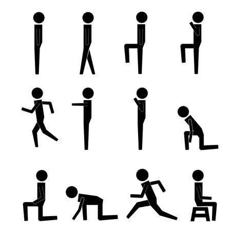 figura humana: La acción humana Poses Posturas Figura Stick Pictograma Iconos