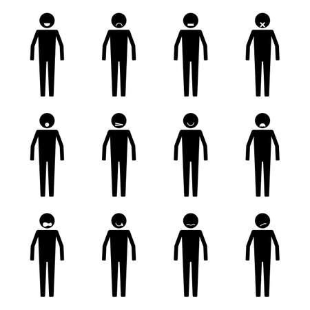 Strichmännchen Menschen Emotion oder Ausdruck gesetzt Symbol Symbol Piktogramm Vektorgrafik