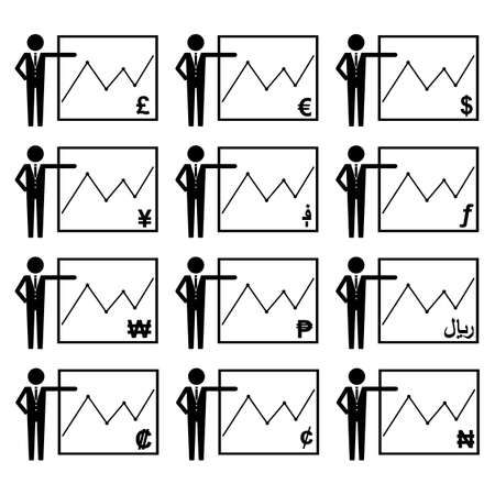 People Stick Figure World Currencies Growth Diagram Icon Symbol Sign Pictogram Set