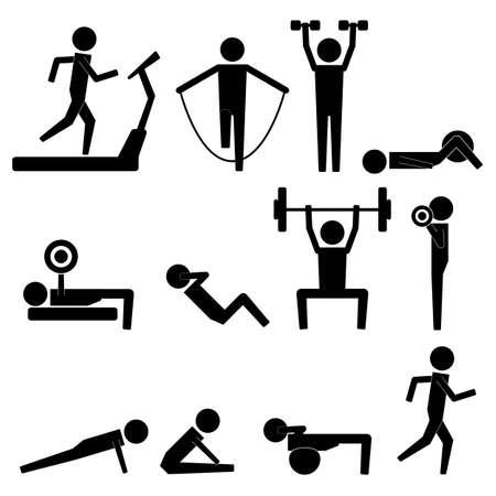 Menschliches Strichmännchen Körperübung Icon Symbol-Zeichen Piktogramm
