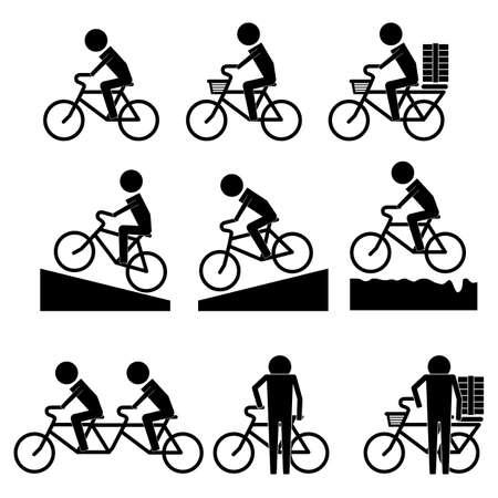 La actividad de la bicicleta para los hombres icono de información de gráfico vectorial símbolo pictograma Foto de archivo - 51919685