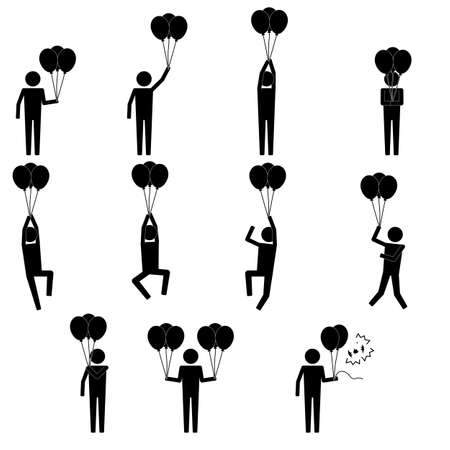 blow up: Men male holding baloon and play with it icon info graphic vector sign symbol pictogram