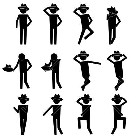 men doing various dance moves with hat icon info graphic vector sign symbol pictogram