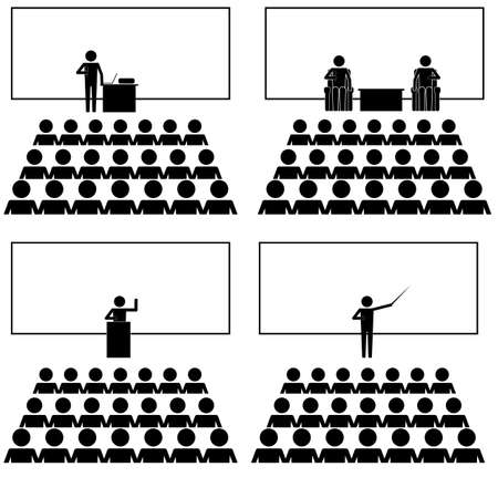 talk show: Various speech sermon sharing and talk show condition with crowds icon info graphic vector sing symbol pictogram