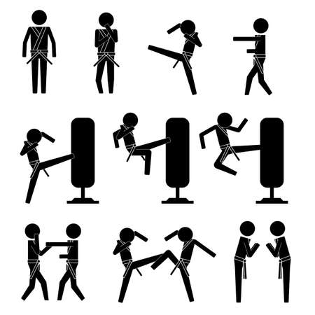 Men doing martial arts spar and practice with dummy and people icon vector sign symbol info graphic pictogram