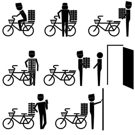 courier delivering box and package or food icon info graphic vector sign symbol pictogram
