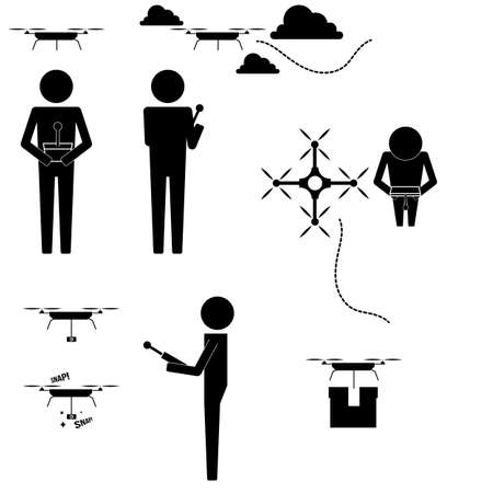 Men with drones doing jobs and flying icon symbol sign vector info graphic
