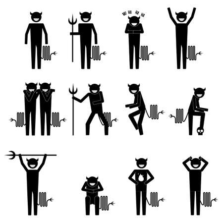 premonition: devil doing various things and having various plan icon info graphic vector sign symbol pictogram