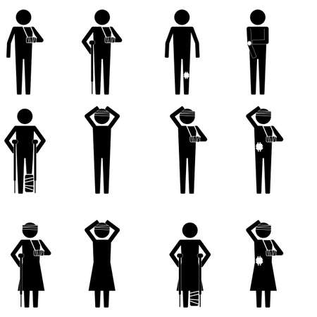 injuries: Men and women injury type with leg, arm,  head sign symbol vector pictogram infographic Illustration