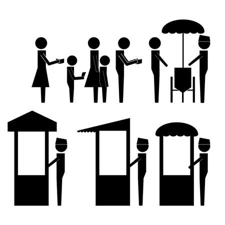 queuing: queuing and waiting in line for buying food in stall icon sign pictogram vector illustration info graphic Illustration