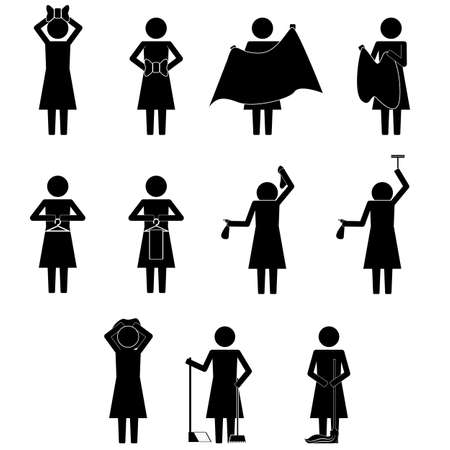female woman, mom mother doing daily chores with various item icon sign symbol vector illustration pictogram info graphic