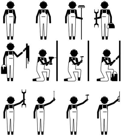 Handyman repair man working fixing, painting things with various tool icon symbol pictogram info graphic vector illutration
