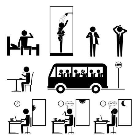 Trabajando actividad rutinaria set signo símbolo pictograma