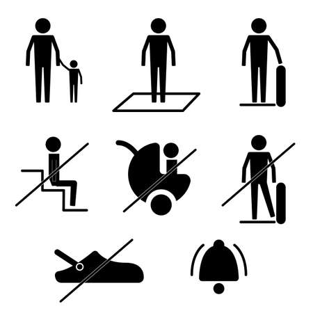 Do and Don't Escalator Safety Guideline Sign Symbol Icon Pictogram