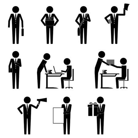 Businessman with various activity and item in office hour icon symbol pictogram vector info graphic