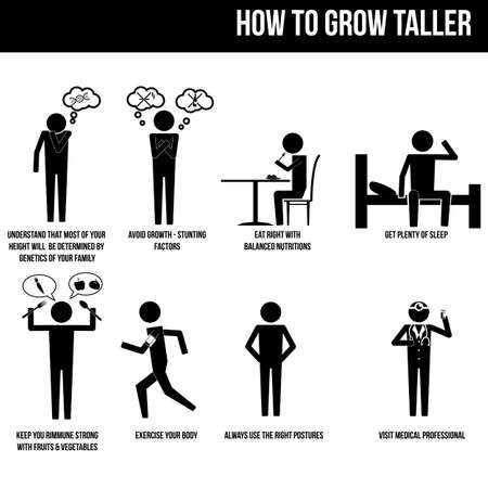 eat right: how to grow taller info graphic vector sign symbol pictogram