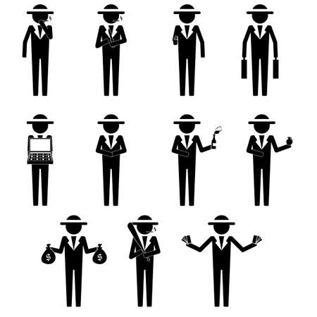 Mafia, gang , syndicate with various item in hand icon sign symbol info graphic pictogram vector
