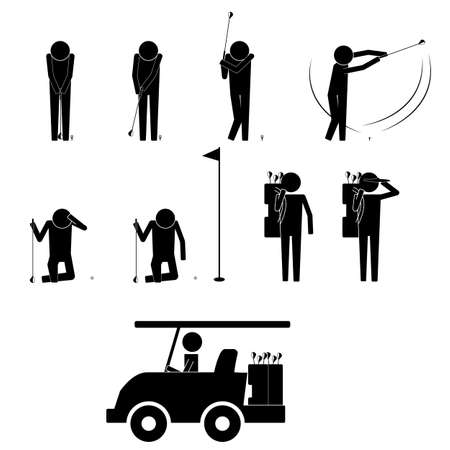 Golf player with various gesture and move icon symbol vector sign info graphic pictogram