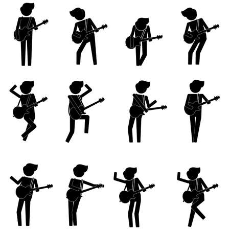 Guitarist with various style and move in concert icon sign info graphic pictogram