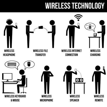 type of wireless technology in the modern era info graphic sign symbol icon pictogram