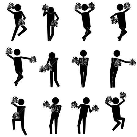 activité cheerleading avec divers mouvements d'info symbole de l'icône pictogramme graphique