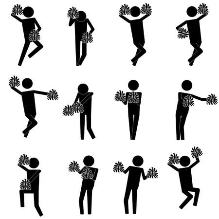 cheerleading: cheerleading activity with various moves icon symbol info graphic pictogram