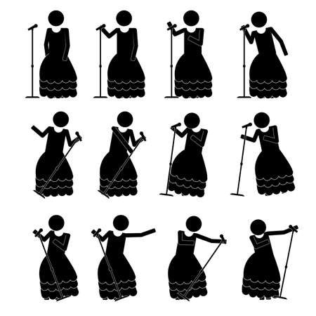 move in: Female singer with various move in gown icon symbol info graphic pictogram